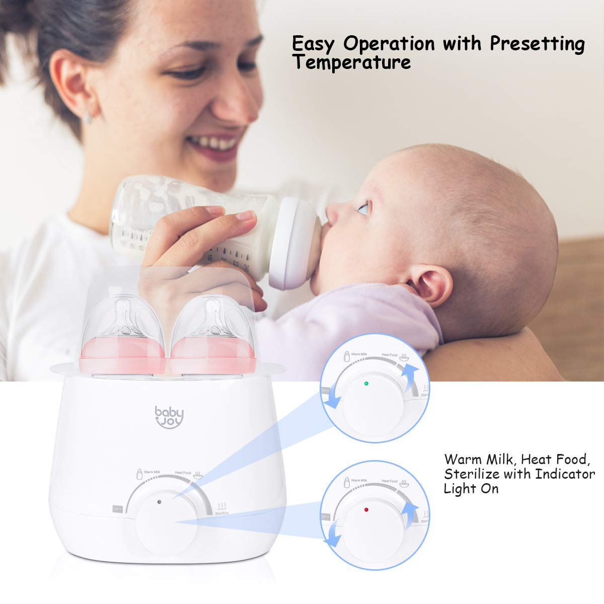 Baby Joy 3-in-1 Baby Bottle Warmer, Food Warmer, Steam Sterilizer, Portable Warming Breast Milk, Double Bottles Warmer with Accurate Temperature Control, Dry-Fire Protection by Baby & Joy (Image #4)