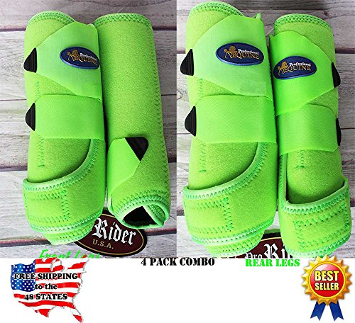 (Professional Equine M Sports Medicine Splint Boots Bell Boots Lime 4 Pack 41LGC)