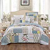 Tache Home Fashion Sky Breeze Patchwork Quilted Coverlet Bedspread Set - Bright Vibrant Multi Colorful Pastel Blue Grey Floral Print - Twin - 3-Pieces