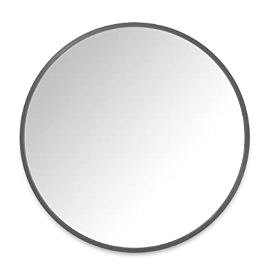 Umbra Hub 37 Inch Round Mirror for Entryways, Washrooms, Living Rooms and More, Doubles as Wall Art, Gray Rubber Frame, 37-Inch, Grey
