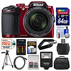 Nikon Coolpix B500 Wi-Fi Digital Camera (Red) 64GB Card + Case + Flash + Batteries & Charger + Tripod + Strap + Kit