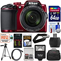 Nikon Coolpix B500 Wi-Fi Digital Camera (Red) 64GB Card + Case + Flash + Batteries & Charger + Tripod + Strap + Kit