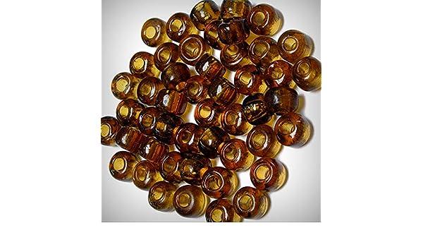 9mm Transparent Topaz color Glass Crow Pony Roller Beads 100pc