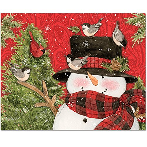CounterArt 15 by 12-Inch Glass Cutting Board, Festive Snowman with -