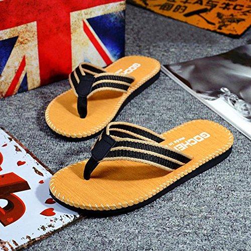 Respctful✿Men Flip Flops Lightweight Casual Thong Sandals Outdoor Anti Slip Indoor Sandals Beach Slippers Khaki by Respctful_shoes (Image #4)