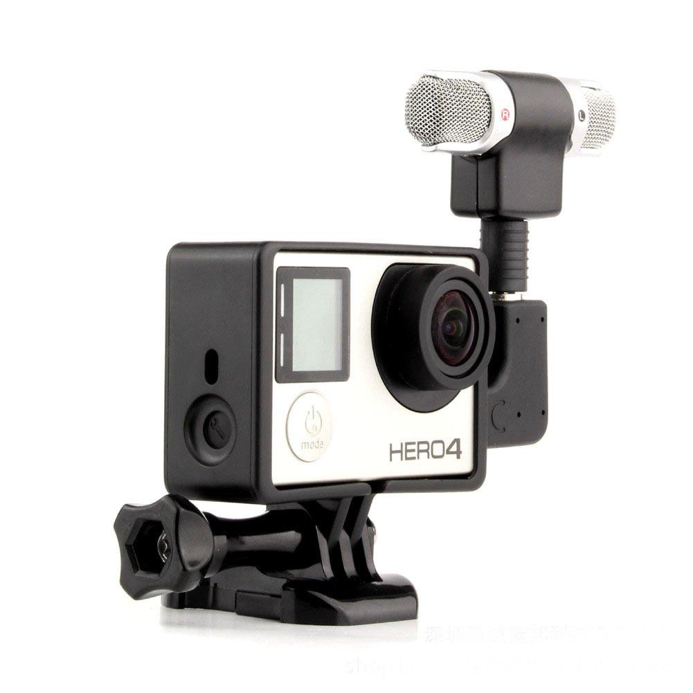 オーディオレコーディング外部ステレオマイク、アダプター付き+スタンドフレーム、GoPro Hero 3+ 4カメラ用。   B01L12I3KY