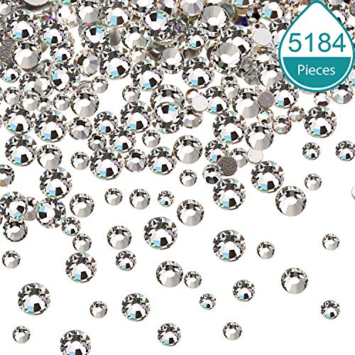 (Bememo 5184 Pieces Nail Crystals AB Nail Art Rhinestones Round Beads Flatback Glass Charms Gems Stones, 6 Sizes for Nails Decoration Makeup Clothes Shoes (3 Crystal Clear, Mixed SS4 5 6 8 10 12))