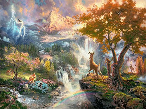 DIY 5D Diamond Painting by Number Kit for Adult, Full Drill Diamond Embroidery Paintings Pictures Arts Craft for Home Wall Decor Gift Fawn Standing On The Hill 15.7x11.8IN ()