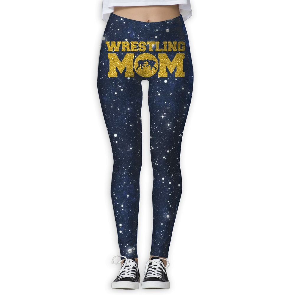 WomensPowerYogaPants Wrestling Mom Glitter Ladies Yoga Pants Fitness Power Flex Leggings Digital Printed