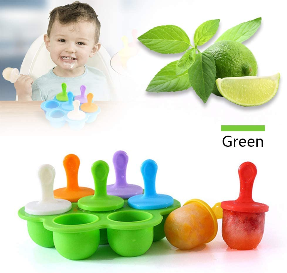 Silicone Ice Popsicle Pop Molds DIY Popsicle Molds 7-Hole Popsicle Mold for kids Baby Food Freezer Trays Colorful DIY Ice Cream Maker Non-Stick Ice Pop Maker Green