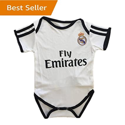 2989942df Real Madrid Baby Suit F.C. Home Cotton White Soccer Bodysuits Infant  Onesize White