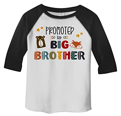 c2fe521aae8 Shirts By Sarah Boy s Toddler Promoted to Big Brother Bear 3 4 Sleeve Raglan  Tee