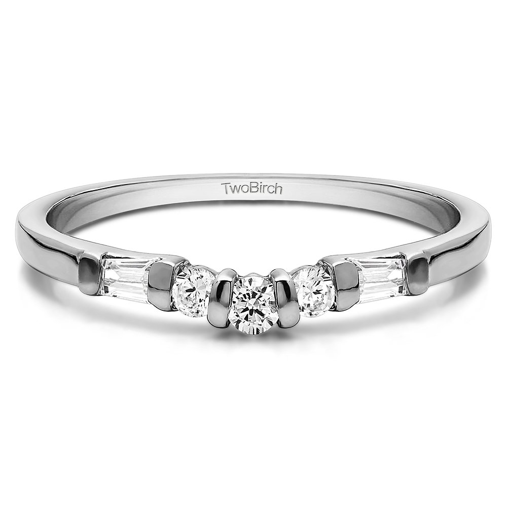Cubic Zirconia Contour Style Wedding Ring In Sterling Silver(0.33Ct) Size 3 To 15 in 1/4 Size Interval