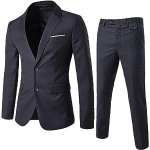 YIMANIE メンズ スーツ上下セットセットアップスーツ2つボタン多色スリム結婚式/ビジネス/カジュアル/オシャレ就職紳士服二次会パーティー全8色全シーズン洗える抗シワXS-5XL X-S サイズ ダークグレー