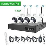 Kit Videosorveglianza WiFi Aottom H.265 1080P 8CH NVR +4PCS Telecamere Wifi, Kit Telecamere di Sorveglianza WiFi, Sistema Videosorveglianza WiFi, Visione Notturna, Motion Detection, P2P, senza HDD