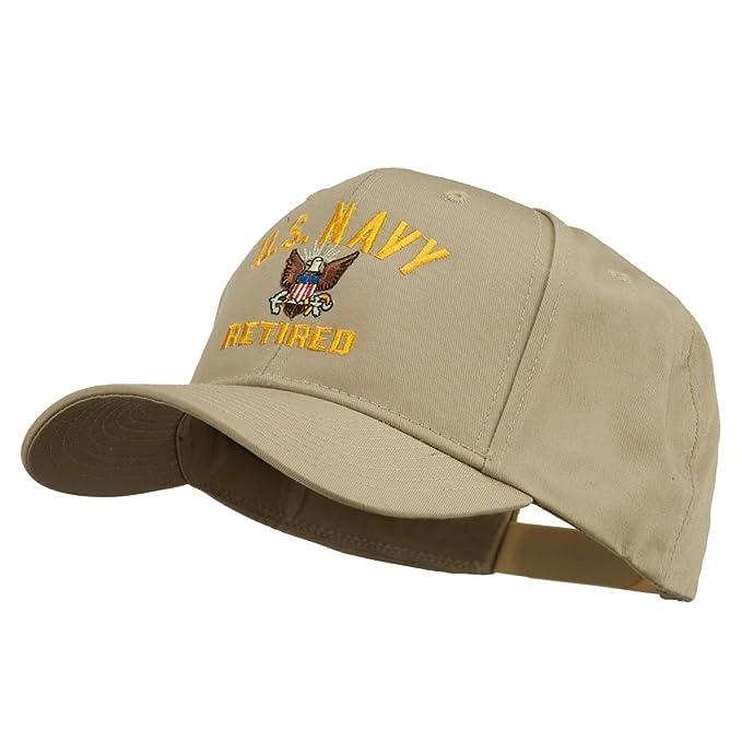 73f9512630d US Navy Retired Military Embroidered Cap - Khaki OSFM at Amazon ...