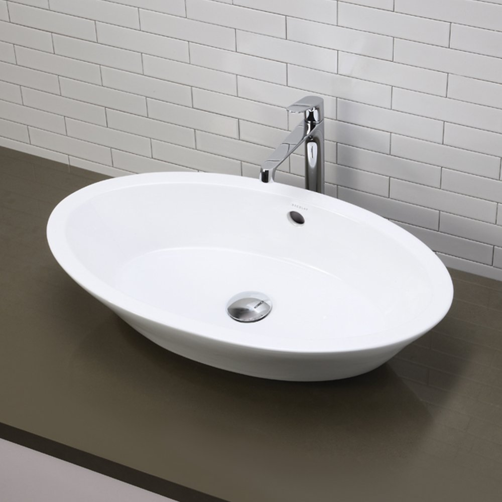 DECOLAV 1463 CWH Shaina Classically Redefined Oval Vitreous China  Above Counter Lavatory Sink, White   Vessel Sinks   Amazon.com
