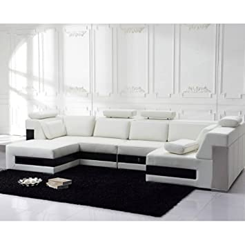 Tosh Furniture Modern Leather Sectional Sofa with Drawers. Amazon com  Tosh Furniture Modern Leather Sectional Sofa with