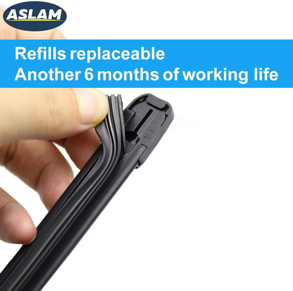 Multifunctional Adapters and Refills Replaceable Double Service Life set of 2 ASLAM Windshield Wipers All-Season Blade Type-M 22+18