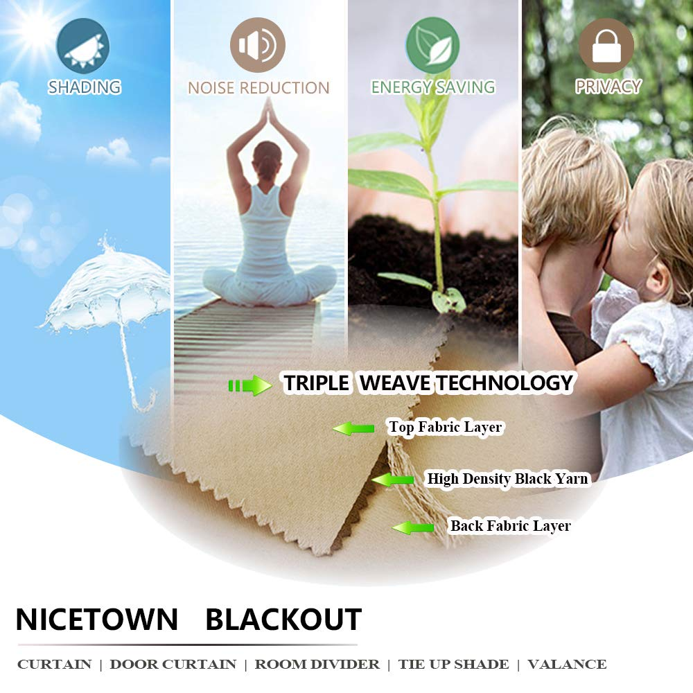 NICETOWN Blackout Curtains for Home Decor 42 Inches by 45 Inches, Cappuccino, Set of 2 45-in Light Blocking Living Room Window Treatment