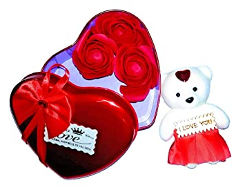 Buy Riddhi Siddhi Crafts Creations Artificial Heart Shaped Box And I Love You Message And Teddy Bear Red Online At Low Prices In India Amazon In
