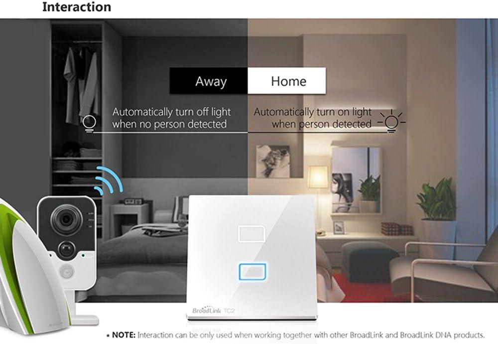 Conmutador Smart Wall TC2 Broadlink BLTC-2-EU 1 marcha, 2 marchas, 3 G, Touch Switch, Smart Home, inal/ámbrico, WiFi, control LED, luz blanca