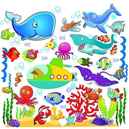 Fish Wall Stickers for Kids, Under The Sea Wall Decals for Toddlers' Bathroom, Bedroom, Window, Bathtub, Baby's Nursery, and Children's Classroom, Removable Peel and Stick Ocean Decor That Clings -