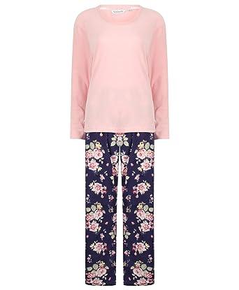 Slenderella Ladies Soft Microfleece Pyjamas Plain Lounge Top   Printed PJ  Bottoms Small (Floral) 4b43017ca