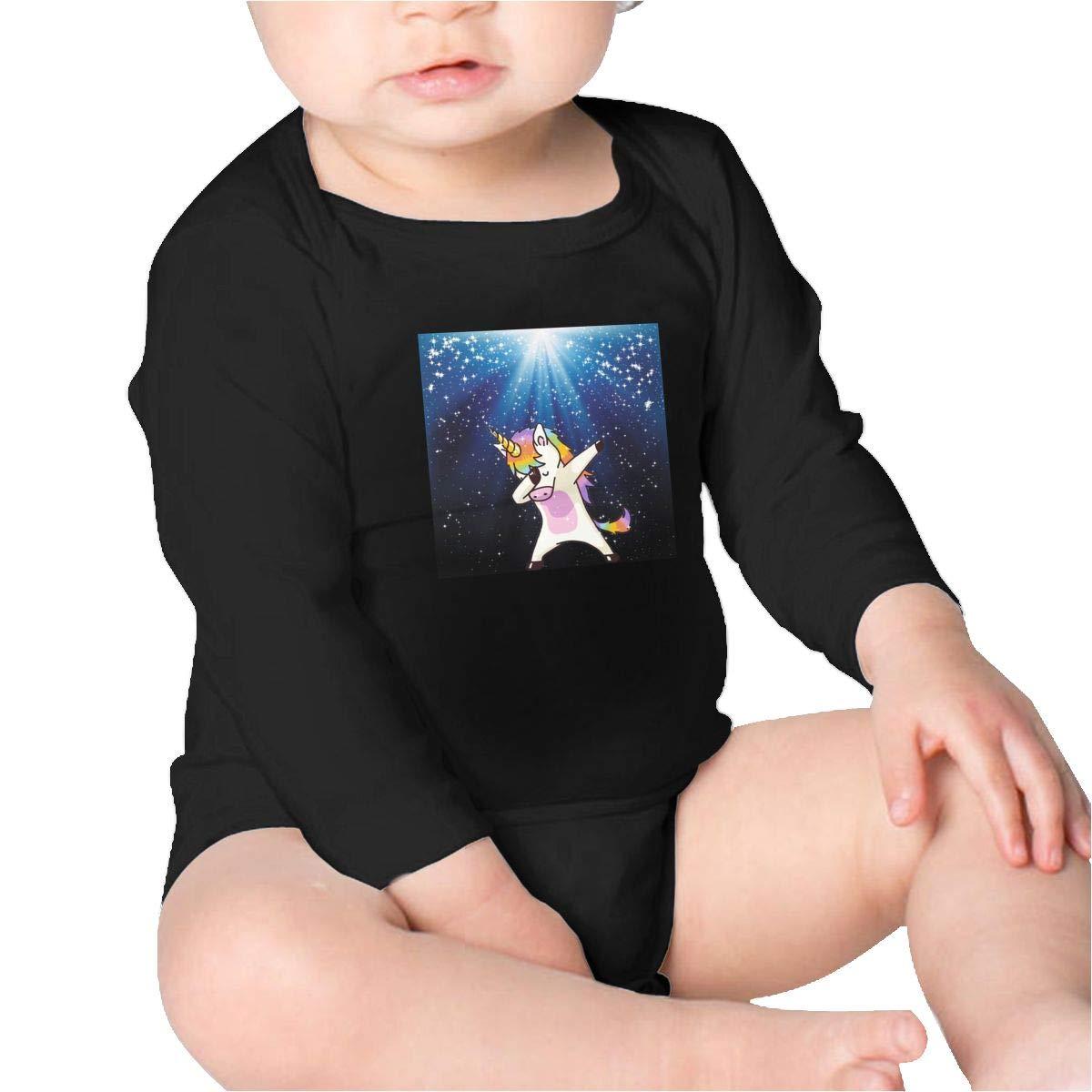 Dabbing Unicorn Girls Cotton,Long Sleeve Baby Romper