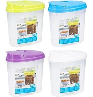 Invero - Juego de 4 dispensadores de plástico de 1,5 L para comida seca