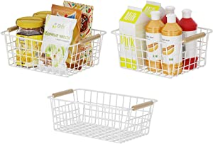 Apsan Kitchen Wire Storage Baskets for Pantry Cabinet , 3 Pack Metal Wire Food Organizer Storage Bin with Handles for Bathroom, Laundry Room, Closets, Garage - White