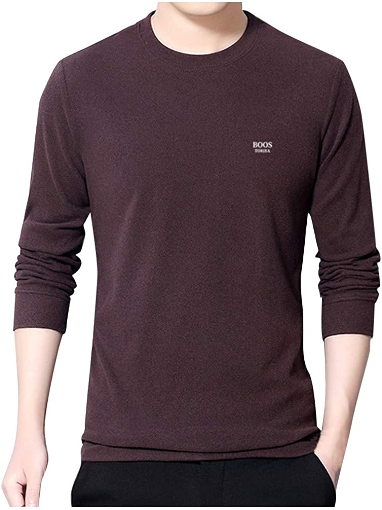 Simayixx Mens Solid Long Sleeve Shirt Manpullover Bottoming Shirt Loose Casual Double-Sided Fleece Sweater