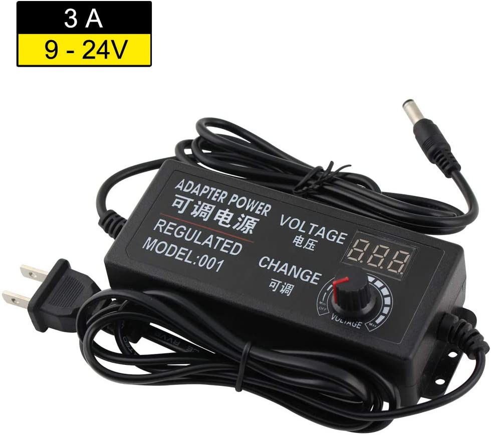 YETAIDA AC/DC Adapter Switching Power Supply with Digital LCD Display, for 9V to 24V 3A Household Electronics and LED Strip, 5.5 x 2.5mm Plug