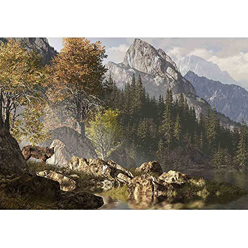 Wall26 - Wolf near a Lake in a Rocky Mountain Landscape. - Removable Wall Mural   Self-adhesive Large Wallpaper - 100x144 inches