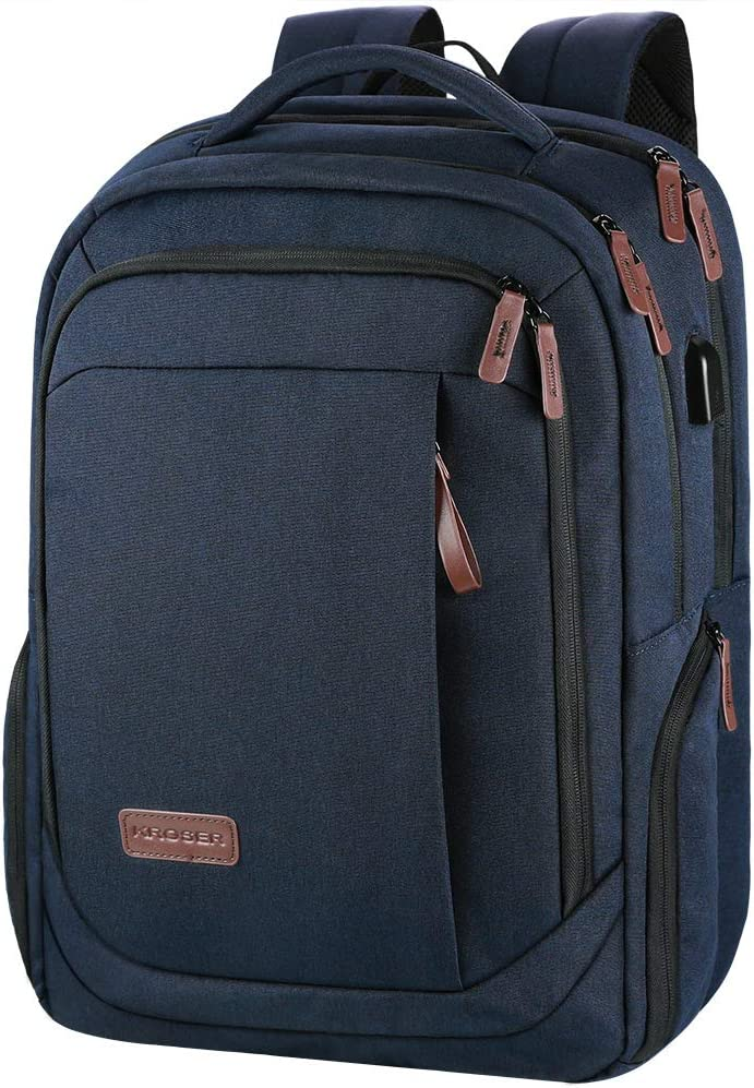KROSER Laptop Backpack Large Computer Backpack Fits up to 17.3 Inch Laptop with USB Charging Port Water-Repellent School Travel Backpack Casual Daypack for Business/College/Women/Men-Dark Blue