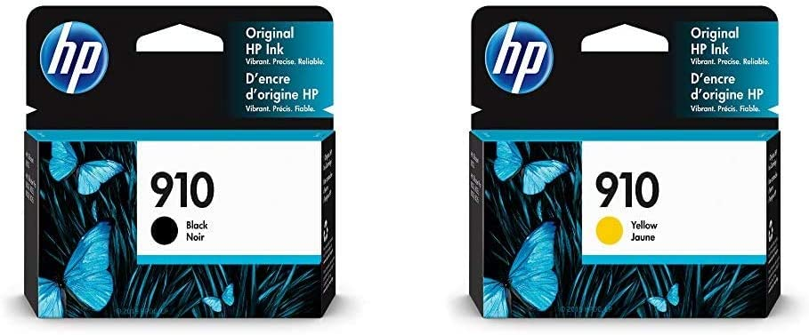 HP 910 | Ink Cartridge | Black | 3YL61AN & 910 | Ink Cartridge | Yellow | 3YL60AN