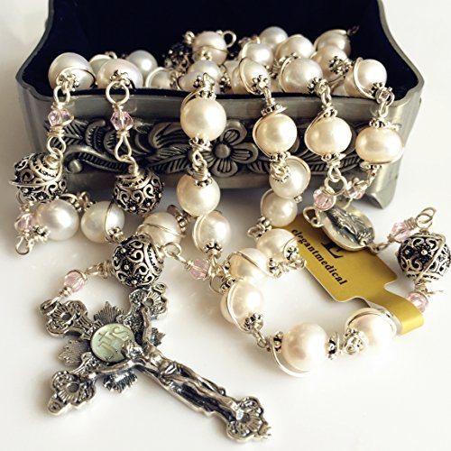 elegantmedical HANDMADE Bali 925 Sterling Silver Bead +AAA 8-9mm Real Pearl Catholic Rosary NECKLACE Cross Box by elegantmedical