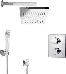 paulgurkes regendusche unterputz dusch set mit thermostat eckig - Regenwalddusche Unterputz