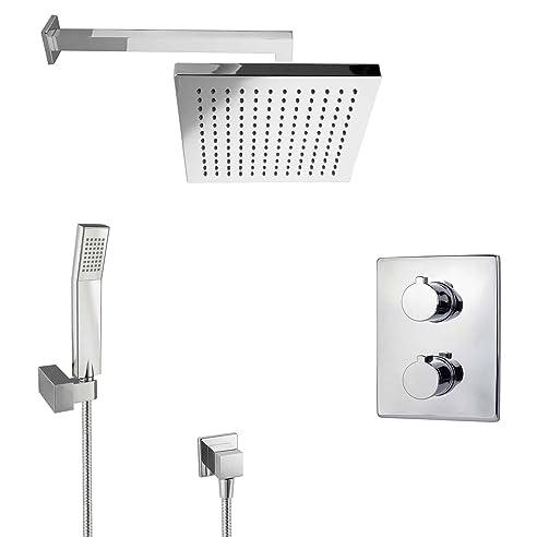 paulgurkes regendusche unterputz dusch set mit thermostat eckig ... - Regendusche Unterputz