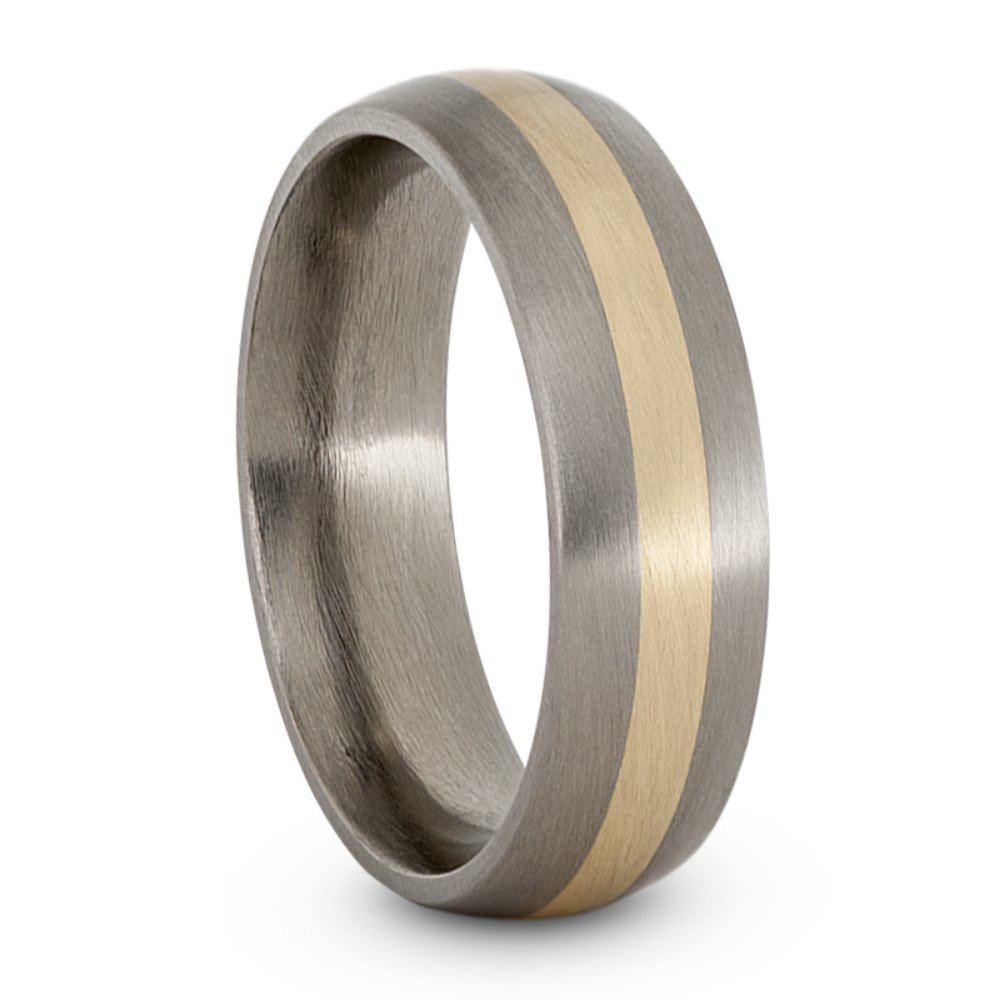 Satin Brushed Titanium, 14k Yellow Gold Inlay 5mm Comfort-Fit Dome Wedding Band, Size 6
