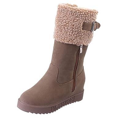 Stiefel Damen Wildleder Boots ABsoar Freizeitschuhe Frauen Klassische  Einfarbige Runde Zehe Keil Schuhe Halten Warme Schneestiefel f6b4856ef0