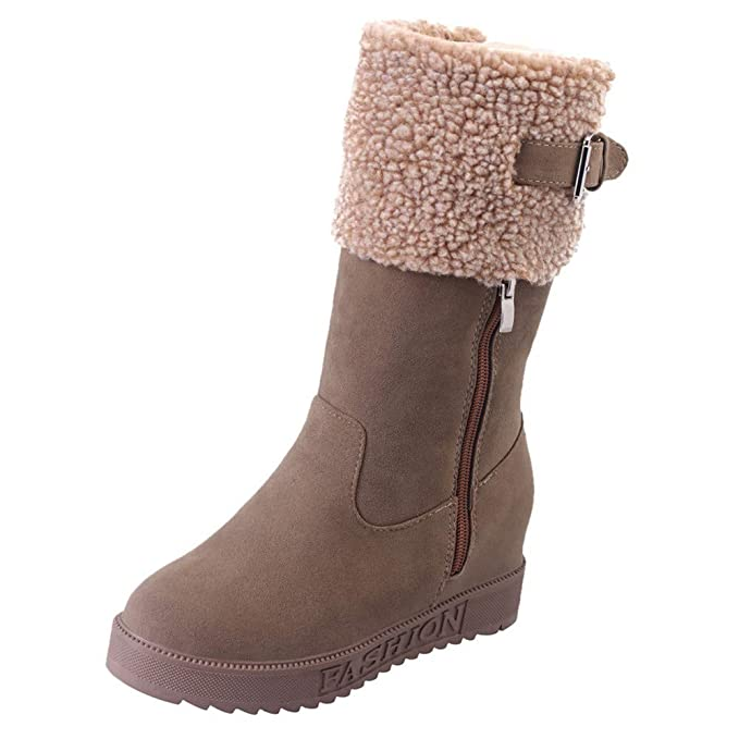 1186049e0ed99 Hunzed Women Shoes Suede Zipper Round Head Wedge with Snow Boots ...