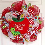 Welcome Class Teachers Deco Mesh 20 inch Wreath