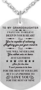 Grandma Grandpa Nana to My Granddaughter I Want You to Believe Stainless Steel Dog Tag Military Air Force Pendant Necklace for Birthday Graduation