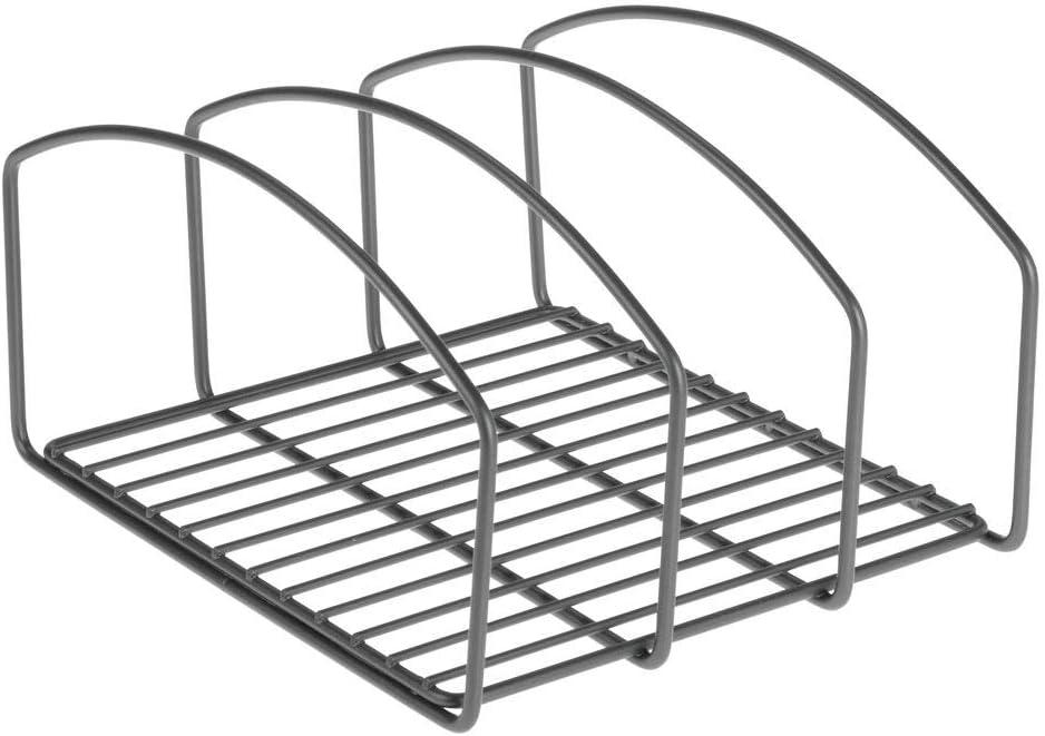 mDesign Juego de 2 coloca sartenes y Tapas de ollas Compacto Porta tapaderas con 3 apartados para armarios de Cocina Soporte de Metal Ahorra Espacio para Utensilios de Cocina Gris Oscuro