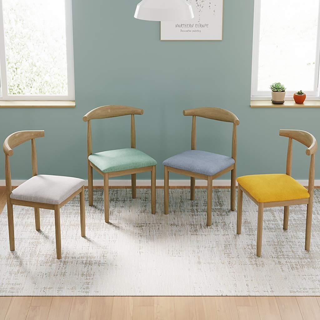ZWJLIZI stoppad matstol, nordisk minimalistisk skrivbordsstol med ryggstöd, inhemsk järnkonst stockfärg horn stol (färg: H) H