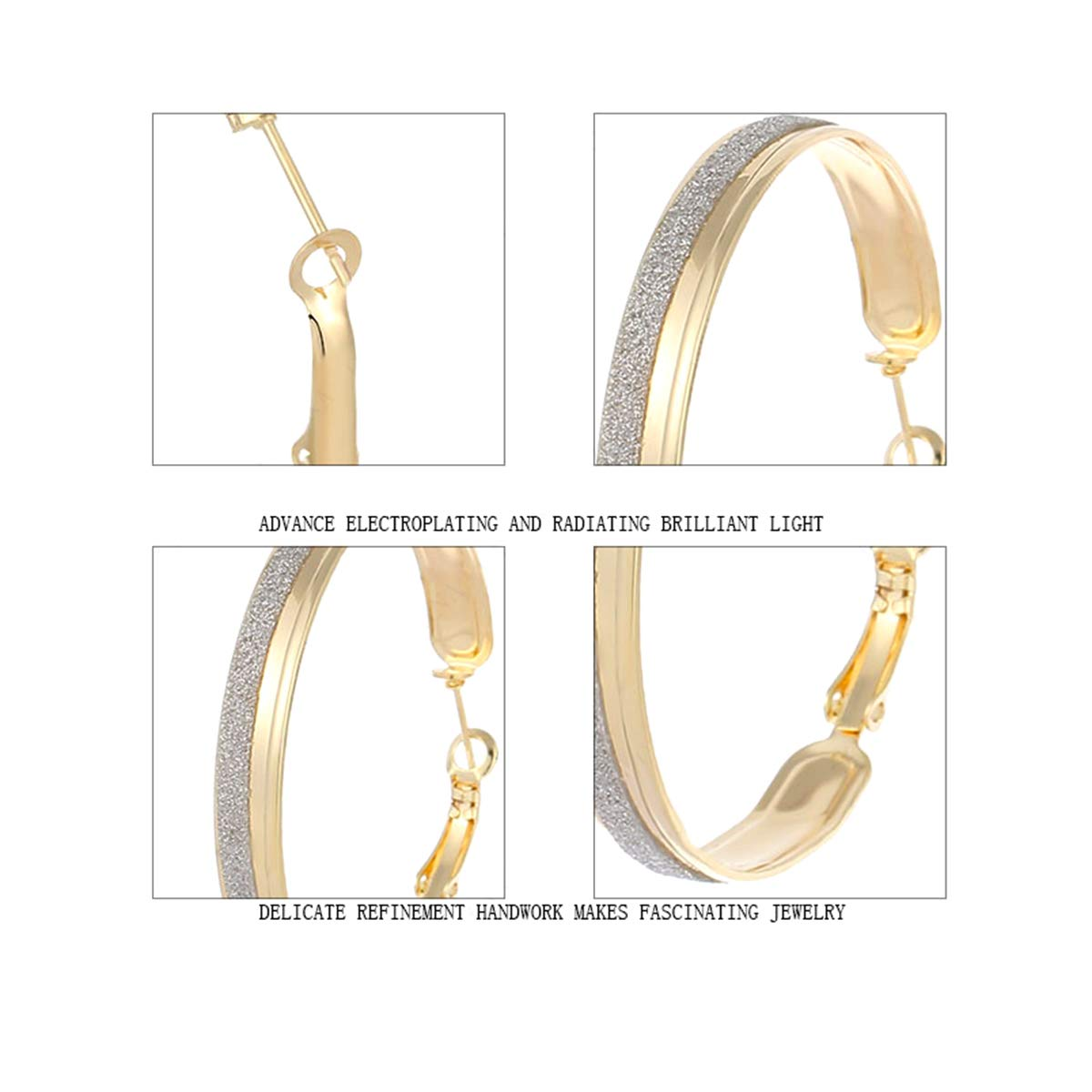 Available in Silver and Gold Tones IDB Delicate Designer Sparkling Hoop Earrings