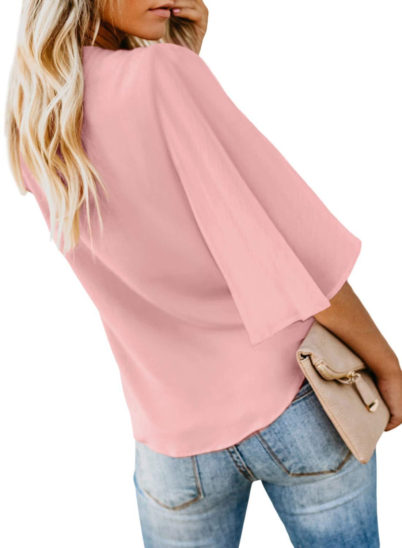 Asvivid kvinnor djup v-ringad knapp keps ärm slips knut avslappnad mode flödande blus skjorta toppar sommar 2020 5-pink