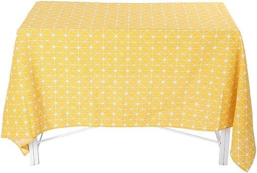 Mantel, Mantel de lino de algodón Tablero de ajedrez amarillo ...