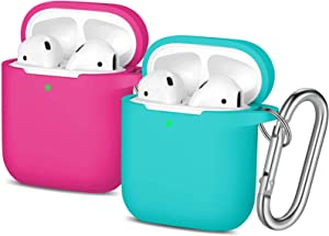 AirPods Case Women - 2 Pack Easuny Silicone Airpods Case Protective Cover Skin [Front LED Visible] with Keychain for Apple Air Pod 2 & 1 Wireless Charging Case Women Men, Teal/Rosy